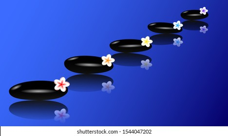 Track made of black basalt massage stones and multi-colored tiare flowers on a blue background. Vector EPS10
