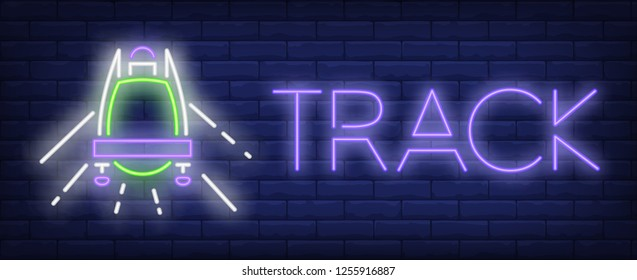 Track neon sign. Glowing inscription with green sleigh on brick wall background. Vector illustration can be used for sport, competition, bobsleigh