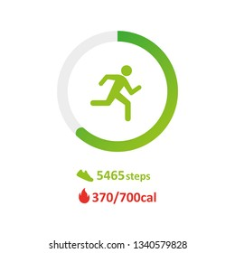 Track the steps, the pedometer. Run and calories icon
