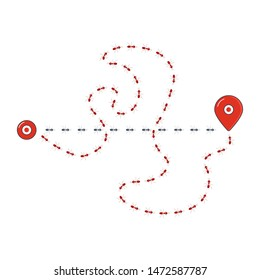 Tracking ants colony location. Straight and complicated road paths of chaotic running ants with map pin signs. Follow the route line of travelling insects.Success and navigation concept. Vector poster