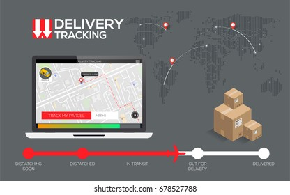 Tracking concept fast delivery service, flat infographics creative design for app. vector Eps 10