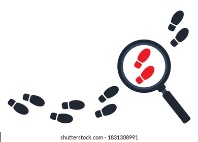 Tracking footsteps with a magnifying glass. Detective following footprint symbol. Tracing, Finding, or searching for clues. Investigation concept. Vector Flat style. Graphic design illustration.