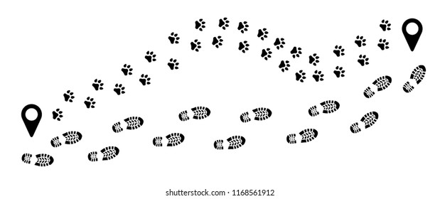 Tracking track footprints shoes shoe sole feet footsteps paws people silhouette follow vector route steps sign foot Walks Walking hiking gps Trekking dog hound paw woof puppy footmark fun funny pin