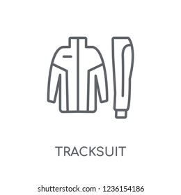 tracksuit linear icon. Modern outline tracksuit logo concept on white background from Clothes collection. Suitable for use on web apps, mobile apps and print media.