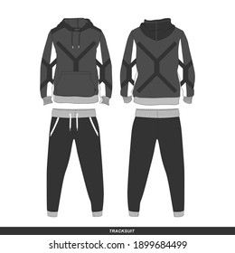 Tracksuit Minimalist, Modern Style. Color is Black and White V2, Template and Mockup Design for Commercial Use