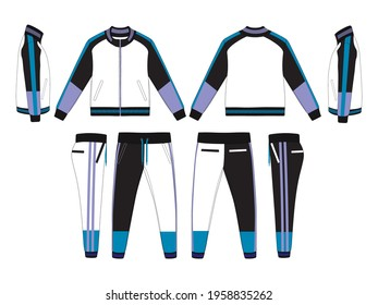 Tracksuit, Modern and Minimalist Style Design, Black and Purple, Commercial Use