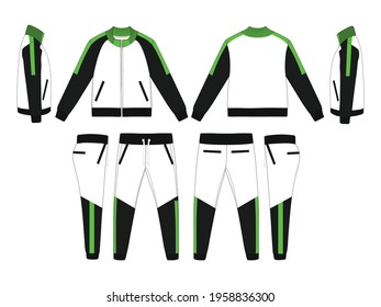 Tracksuit, Modern and Minimalist Style Design, Black and Neon Green, Commercial Use