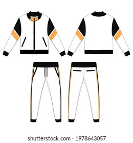 Tracksuit, Modern and Minimalist Style Design, Navy with Strip Black and Orange, New Style Commercial Use