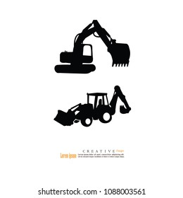 tracktor and backhoe car icon.vector illustration.eps10.