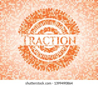 Traction abstract orange mosaic emblem with background