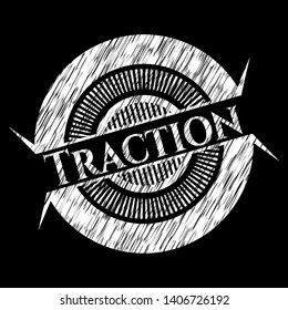 Traction chalk emblem written on a blackboard. Vector Illustration. Detailed.
