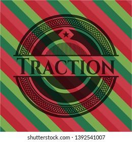 Traction christmas emblem background. Vector Illustration. Detailed.