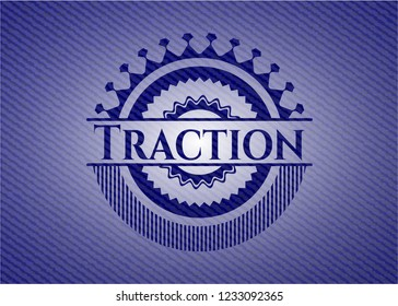Traction emblem with denim high quality background