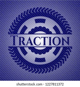 Traction emblem with jean texture