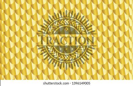 Traction gold badge or emblem. Scales pattern. Vector Illustration. Detailed.