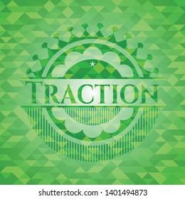 Traction green mosaic emblem. Vector Illustration. Detailed.