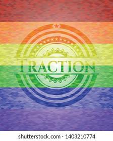 Traction lgbt colors emblem. Vector Illustration. Mosaic.