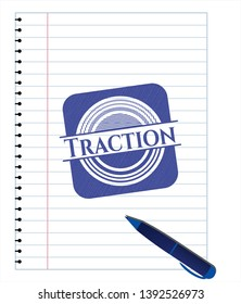 Traction pen draw. Blue ink. Vector Illustration. Detailed.