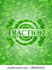 Traction realistic green mosaic emblem. Vector Illustration. Detailed.