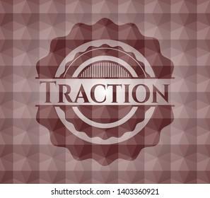 Traction red seamless geometric pattern emblem. Seamless.