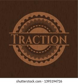 Traction retro style wooden emblem. Vector Illustration.