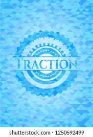 Traction sky blue emblem with mosaic background