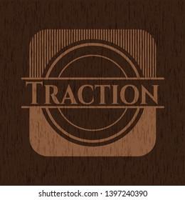 Traction vintage wooden emblem. Vector Illustration.