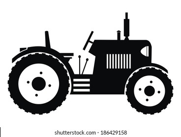 tractor - black, vector icon