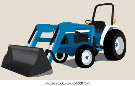 Tractor with bucket isolated vector illustration on neutral background