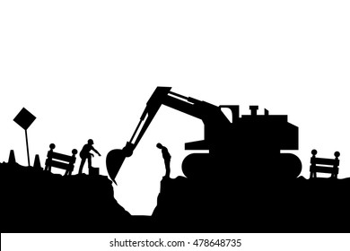 tractor and builders silhouette