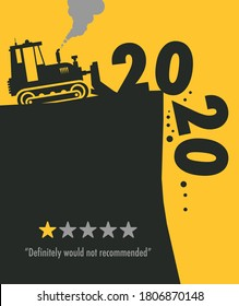 Tractor bulldozer at work on the construction site, 2020 One Star Rating - Would Not Recommend, vector illustration