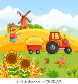 Tractor carries a hay in a cart through a meadow. Vector illustration with a farm technique in a cartoon style. Farm field landscape vector background.