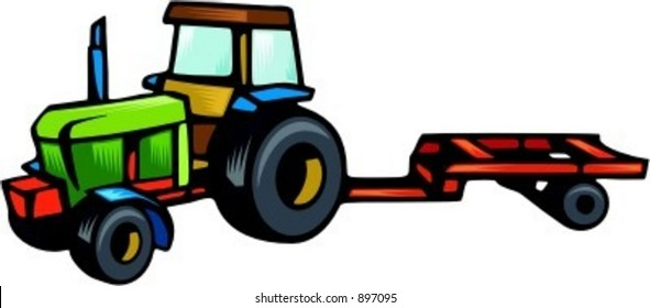 Tractor carrying trailer.Vector illustration