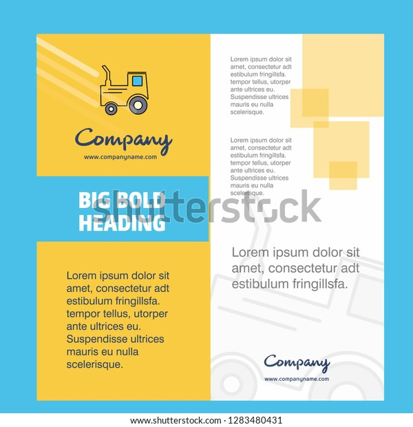 Tractor Company Brochure Title Page Design Stock Vector