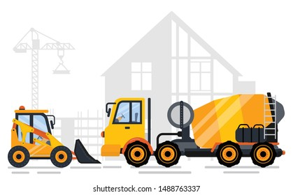 Tractor and concrete mixing machine side view, shadow of concreting project and crane. Construction equipments, engineering outdoor, automobile. Vector illustration in flat cartoon style