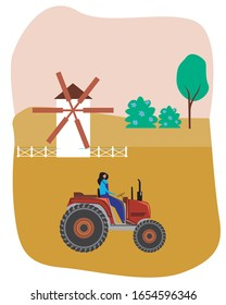 Tractor driver woman cultivates a field with a crop in the village. Retro vector stock illustration with heavy machine, girl and mill as an eco production of goods concept.