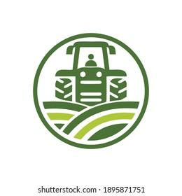 tractor and farm combination vector design logo