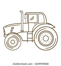 Tractor farm .Heavy agricultural vehicles machinery for field work of harvesting.Cartoon vector fla line art design.Farm transport.Side view and front view