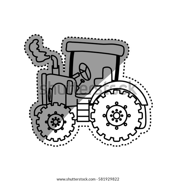 Tractor farm machinery icon vector illustration graphic design