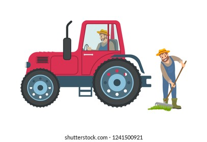 Tractor and farmer with rake vector. Transport helping to cultivate ground, person spreading compost on soil. Farming process agricultural machinery