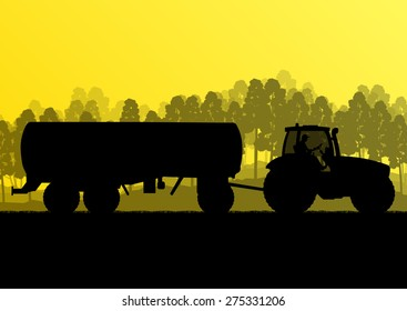 Tractor with fertilizer tank ecology background organic farming vector concept