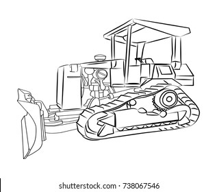 Tractor Hand Drawn Vector Illustration