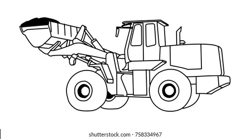 tractor hand drawn vector illustration.