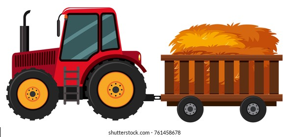 Tractor with hay in the cart illustration