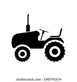 Tractor icon. Black silhouette. Side view. Vector simple flat graphic illustration. The isolated object on a white background. Isolate.