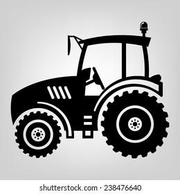 Tractor icon black vector macro farmer machine