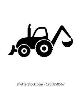 Tractor icon. Construction machinery. Black silhouette. Side view. Vector simple flat graphic illustration. The isolated object on a white background. Isolate.