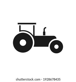 Tractor icon on white background. Agriculture vehicle sign.