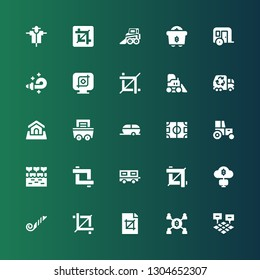 tractor icon set. Collection of 25 filled tractor icons included Field, Mining, Crop, Blower, Trailer, Farm, Tractor, Land, Garbage truck, Bulldozer, Backhoe, Scarecrow