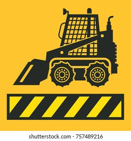 Tractor icon or sign on yellow background. Tractor grader bulldozer silhouette, vector illustration